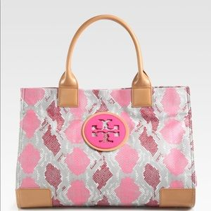 Tory Burch Snakeskin Print Canvas Coated Tote